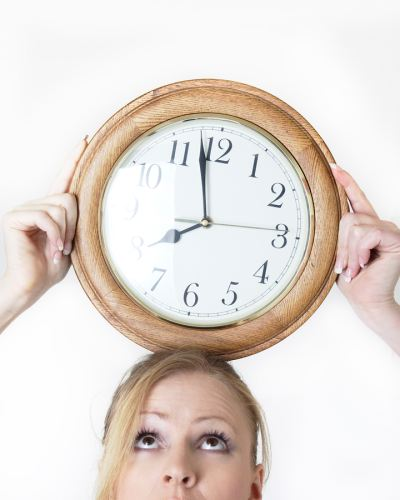 woman with clock on her head