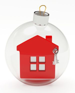 house in christmas bulb